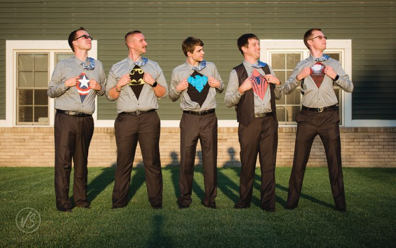 Groom groomsmen superhero t-shirts