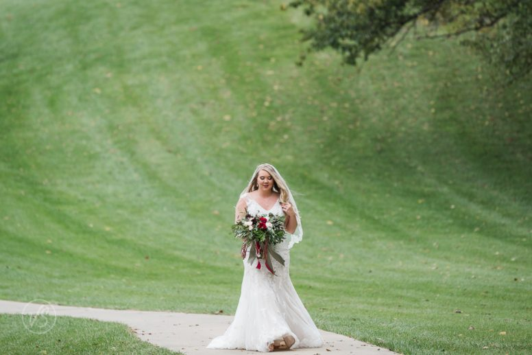 wedding dress and wedding flowers