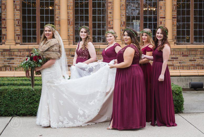 burgandy bridesmaids' dresses