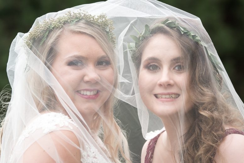 Bride with sister maid of honor