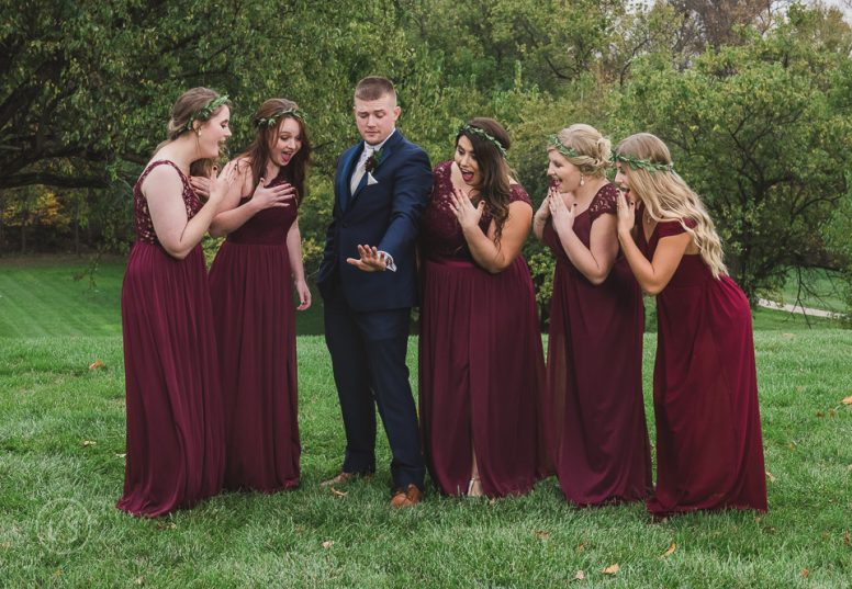 Joey shows his ring to bridesmaids