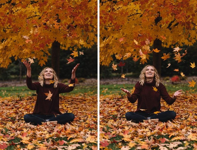 Teenage girl smiling and tossing leaves in air