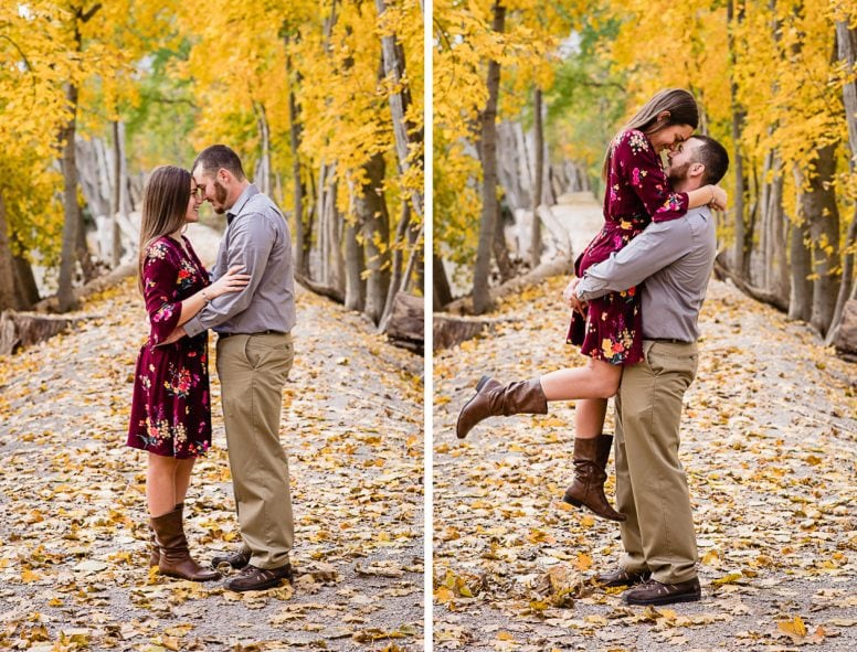 Couple smiling and having fun with fall photo session
